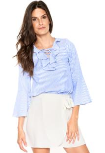 Camisa Fiveblu Babados Listras Azul/Branca
