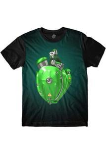 Camiseta Bsc Coração De Máquina Motor Rosa Masculina - Masculino-Verde