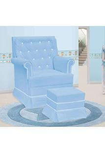 Poltrona Amamentação Giulia Fixa E Puff Corino Azul E Branco - Confortável