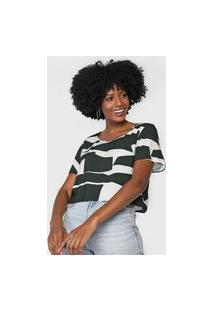 Blusa Cropped Lez A Lez Estampada Verde/Branco