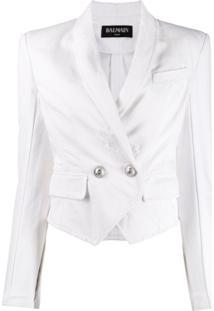Balmain Blazer Cropped Com Abotoamento Duplo - Branco
