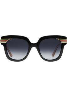 Gucci Eyewear Óculos De Sol Qaudrado - Preto