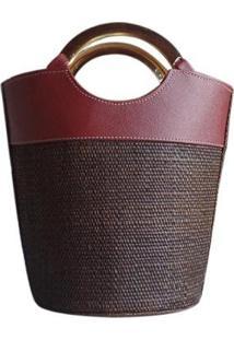 Bolsa Bucket Bag Balde De Palha Cilíndrica Com Alça Aro Metal Redonda - Feminino-Marrom