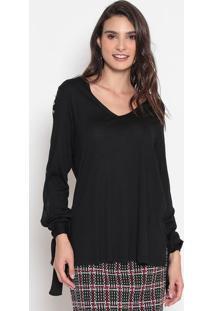 Blusa Com Botões- Preta- Cotton Colors Extracotton Colors Extra