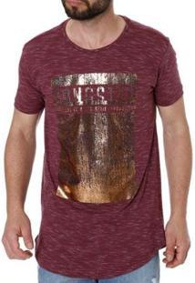 Camiseta Gangster Alongada Manga Curta Masculina - Masculino-Vinho