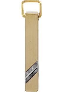 Pingente Narcizza Semijoias Retângulo Com Detalhes Ródio Ouro
