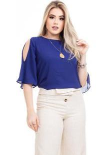Blusa Clara Arruda Costa Laço Feminina - Feminino-Azul Royal