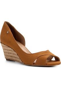 Peep Toe Shoestock Anabela Lona - Feminino-Caramelo