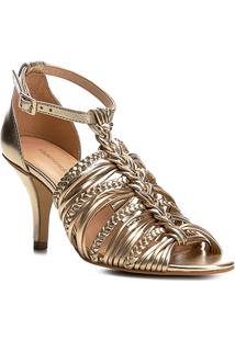 Sandália Shoestock Salto Médio Trança Feminina - Feminino-Dourado