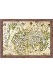 Quadro Decorativo Antigo Mapa Mundi Madeira - Grande