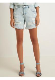 Bermuda Le Lis Blanc Boyfriend Rasgada Jeans Azul Feminina (Jeans Claro, 40)
