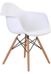 Cadeira Eiffel Com Braço Branco Base Madeira Rivatti