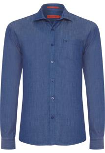 Camisa Masculina Casual Jeans - Azul