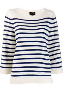 A.P.C. Suéter Listrado - Branco