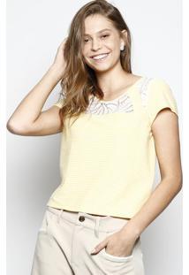Blusa Com Recorte Em Renda- Amarela & Brancadbz Jeans