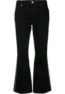 Alexander Mcqueen Calça Jeans Flare Cropped - Preto