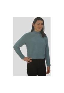 Blusa Cropped Tomasini Tricot Outono/Inverno Azul