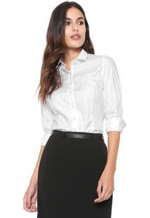 Camisa Dudalina Slim Listrada Branca