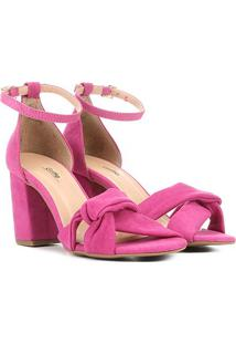 Sandália Griffe Salto Grosso Tira Cruzada Feminina - Feminino-Pink