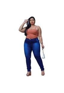 Calca Jeans Feminina Plus Size Cintura Alta Com Strech Modelagem Perfeita Azul