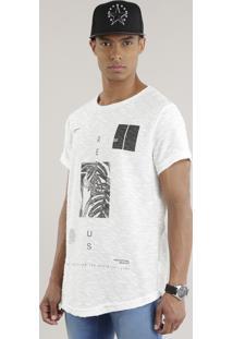 "Camiseta Longa ""Respect Us"" Em Moletom Off White"