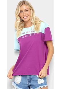 Camiseta Colcci Estampada Feminina - Feminino-Roxo+Cinza