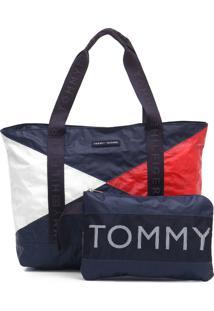 Bolsa Tommy Hilfiger Color Block Com Necessaire Azul-Marinho