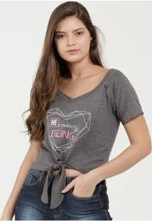Blusa Feminina Cropped Botonê Estampa Coração