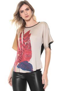 Camiseta Morena Rosa Folhagem Bege/Preta