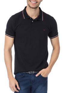 Camisa Polo Colombo Preta Com Detalhe
