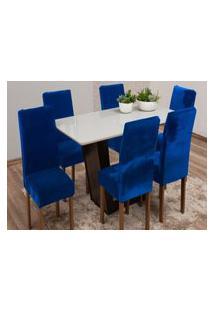 Capa Para Cadeira De Veludo - Kit 4 Peças Azul Royal
