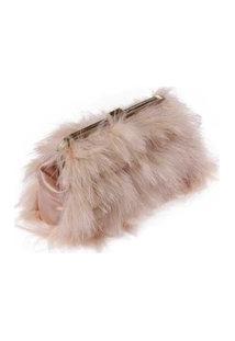 Bolsa Em Tecido Nude Rosado Felpuda Com Fecho Dourado A16Xc27Xl3,5 Cm