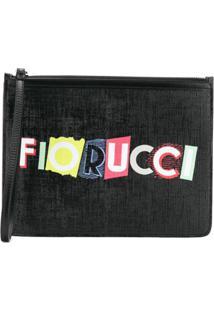 Fiorucci Clutch Com Logo Estampado - Preto