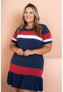Vestido Curto Babado Tricolor Marinho Plus Size