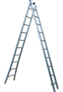 Escada Extensível 2X10 20 Degraus - Unissex-Cromado