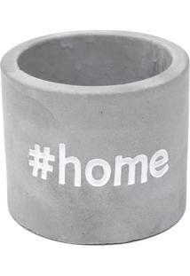 Cachepot ''#Home''- Cinza & Branco- 6,8Xø7,7Cm- Urban