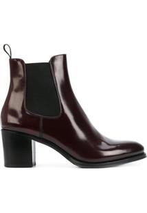 Church'S Ankle Boot De Couro Envernizado E Camurça - Vermelho