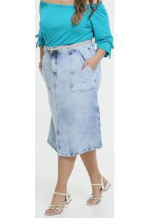 Saia Feminina Jeans Midi Bolsos Plus Size