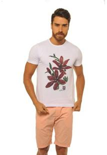 Camiseta Joss Premium New Flores Masculina - Masculino-Branco