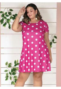Vestido Curto Poá Pink Soltinho Plus Size