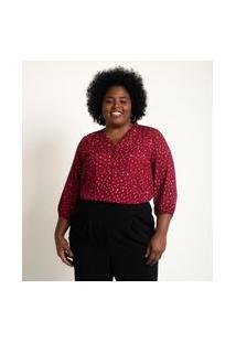 Blusa Estampada Em Viscose Com Botões E Babado No Decote Curve & Plus Size Vermelho