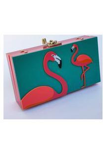 Clutch De Acrílico Flamingos