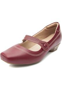 Sapato Boneca Pattini Confort Em Couro Salto Baixo Vermelho