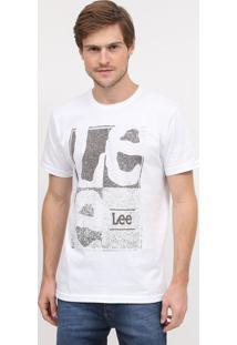 """Camiseta Estonada """"Leeâ®""""- Branca & Cinzalee"""