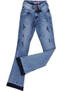 Calça Jeans Flare Rodeo Western Manchada Feminina - Feminino-Azul