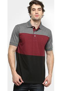 Camisa Polo Aleatory Listrada Masculina - Masculino-Cinza+Vinho