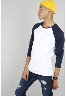 Camiseta Masculina Básica Manga Longa Raglan Gola Careca Branca