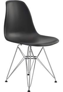 Cadeira Eames Eiffel Rivatti Sem Braço Pp Base Cromada Preto