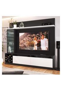 """Painel Home Para Tv 60"""" Com 3 Portas Preto Branco Lilies Móveis"""