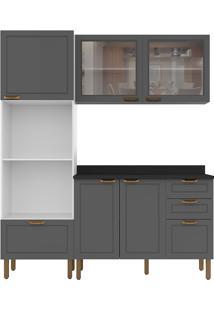 Cozinha Modulada 4 Peças Com Tampo E Nevada 5908Vdtp-Multimóveis - Branco Premium / Grafite Premium
